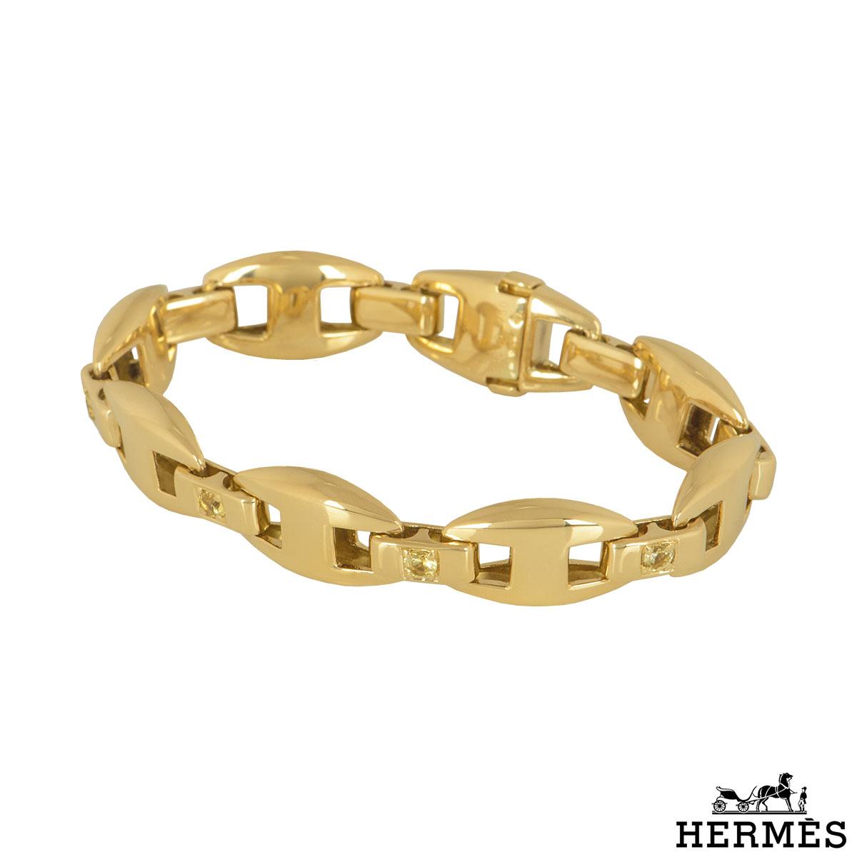 Hermès Yellow Gold Diamond Bracelet